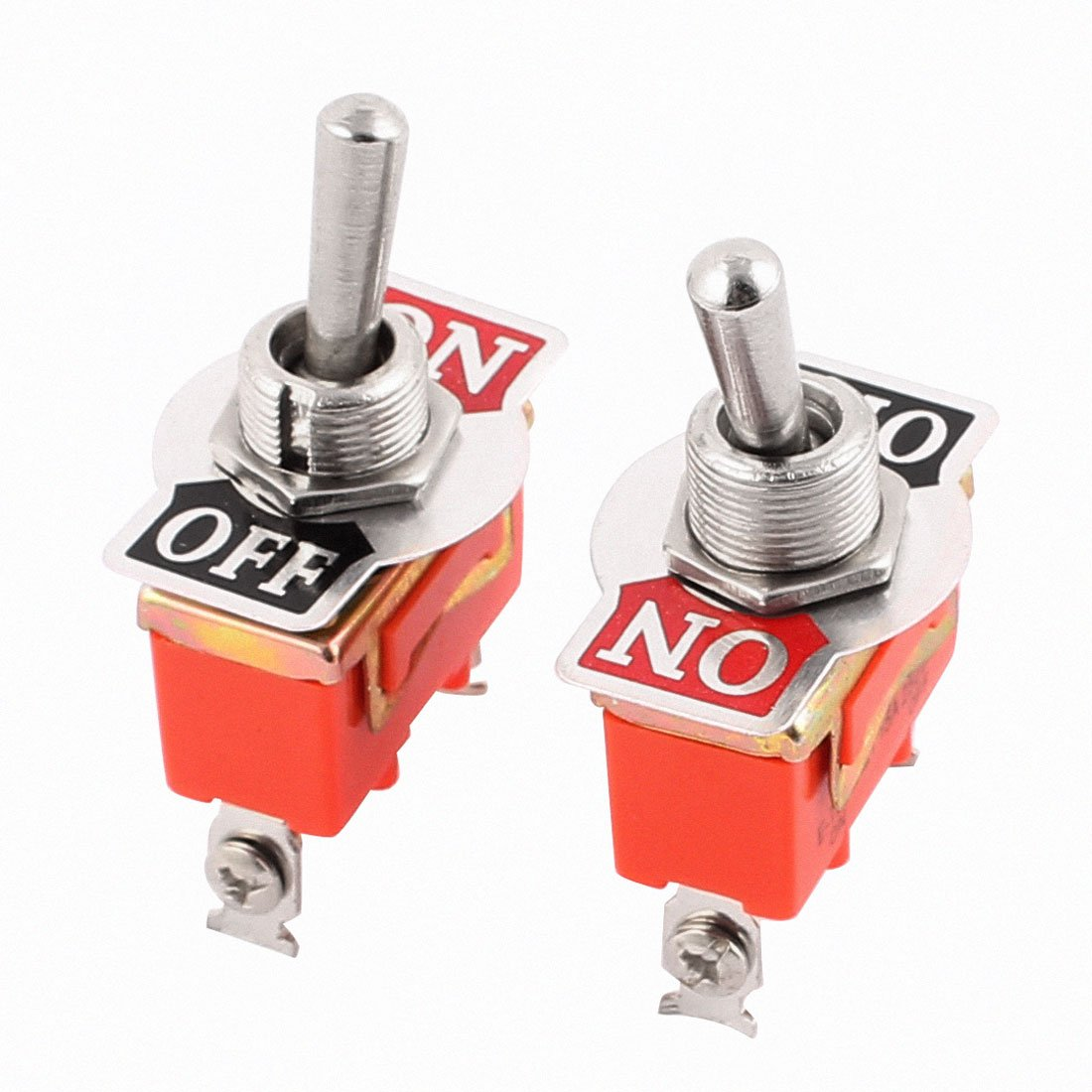 sourcingmap® 2Pcs AC 250V 15A ON/OFF 2 Position SPDT Latching Toggle Switch Orange a16032400ux0938