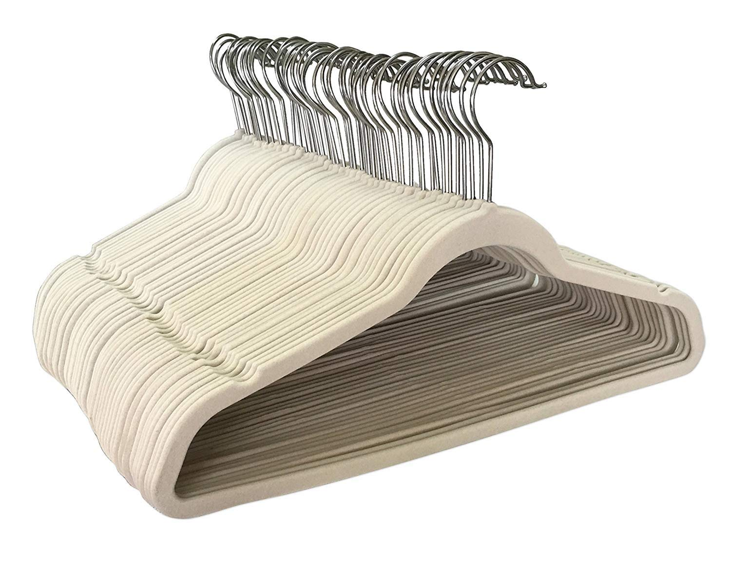 Jeronic 50 Pack Beige Velvet Hangers Clothes Hangers Velvet Hanger Clothing Hangers Clothes Hanger Suit Hanger Ultra Thin No Slip for Shirts, Suit by Jeronic