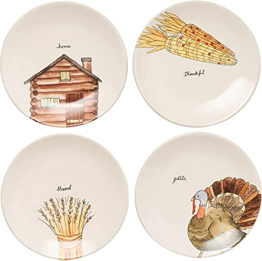 Rae Dunn Magenta Ceramic Thanksgiving Home Thankful Blessed Gobble Salad Appetizer Dessert Circle Small 8 Plate Eat Set Of 4 8 In Home Thankful Blessed Gobble Kitchen Dining