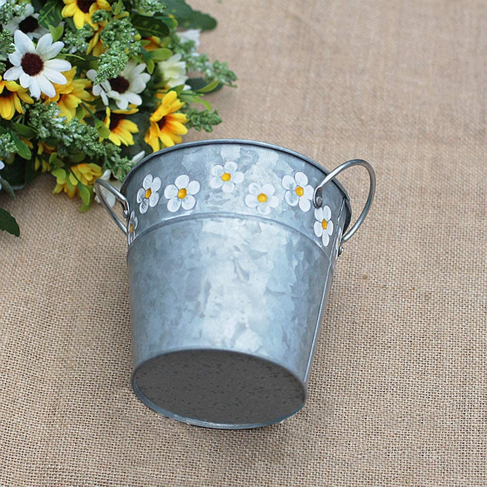 Yardwe Pot Plante Pot de Fleur M/étal Rond Jardini/ère en Zinc Suspendu Fran/çais Frites Seaux en Etain Mariage F/ête Ornement