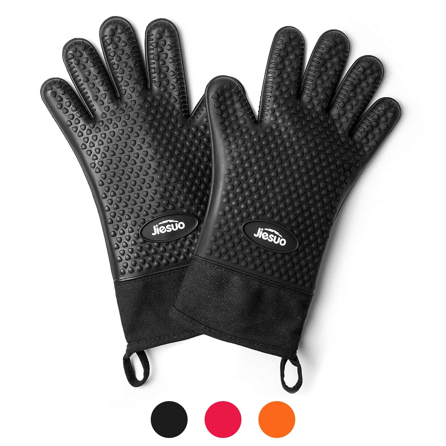 JIESUO BBQ Grill Gloves, Extra-Long Silicone Oven Mitts Heat Resistant Gloves for Kitchen Baking Cooking and Grilling, in FDA Grade Waterproof Non-Slip Potholder Gloves (Black)