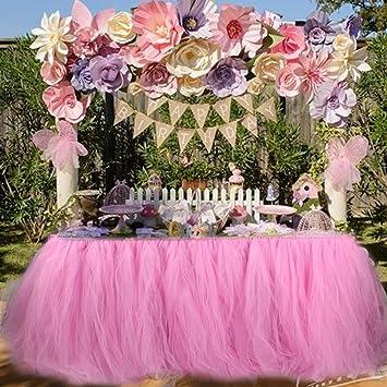 Aytai Tutu Falda de Mesa Tul Hecho a Mano Mantel para el Banquete de Boda Baby Shower cumpleaños niña Princesa Party Supplies Decoraciones 39.4