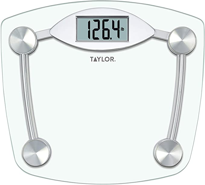 Amazon Com Taylor Precision Products Digital Bathroom Scale Highly Accurate Body Weight Scale Instant On And Off 400 Lb Sturdy Clear Glass With Chrome Finish Base Health Personal Care