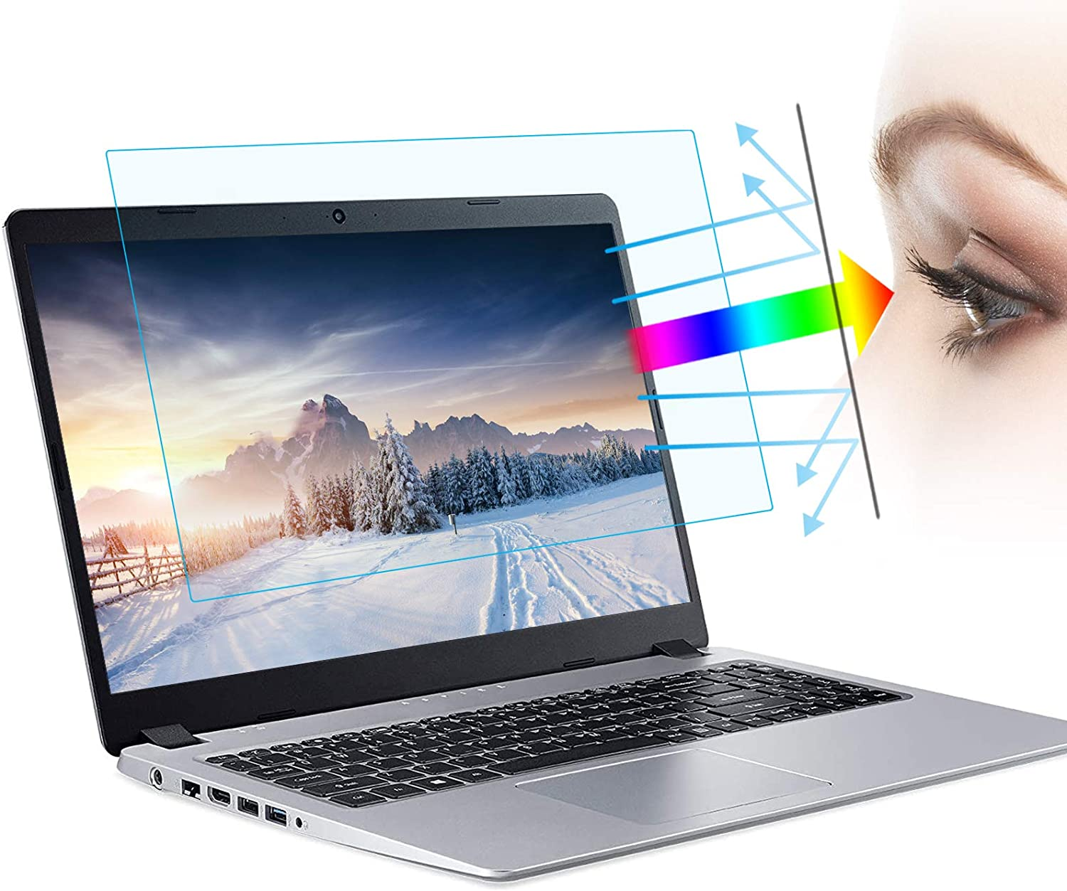 (2Pack) 15.6 Inch Anti Blue Light Laptop Screen Protector,Anti Glare Filter Eye Protection Blue Light Blocking Screen Protector(15.6 Inch 16:9 Aspect Ratio Laptop)