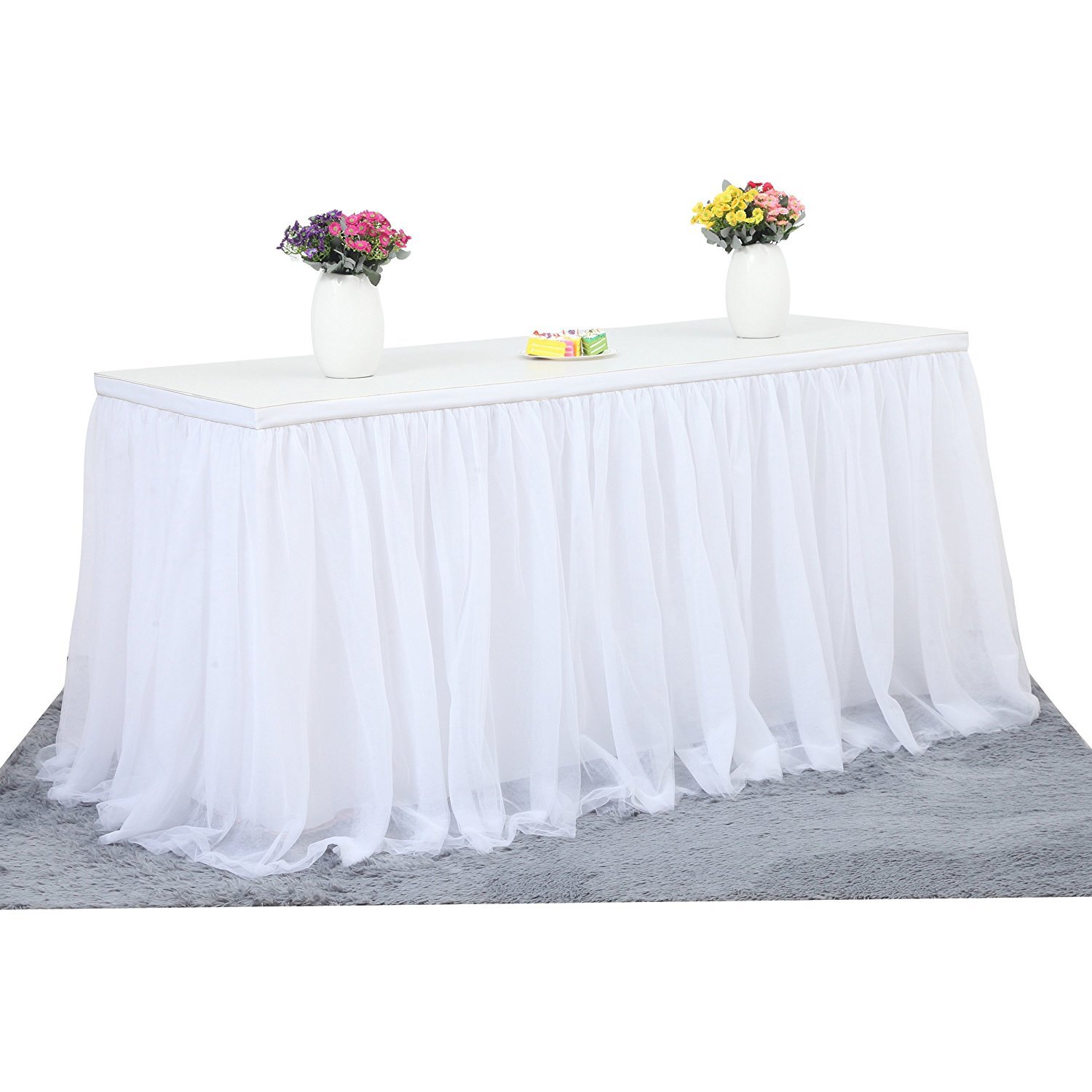 MineSha 6 ft Mesh Fluffy Tutu Tulle Table Skirt White For Party,Wedding,Birthday Party&Home Decoration (L6(ft) H 30in, white)
