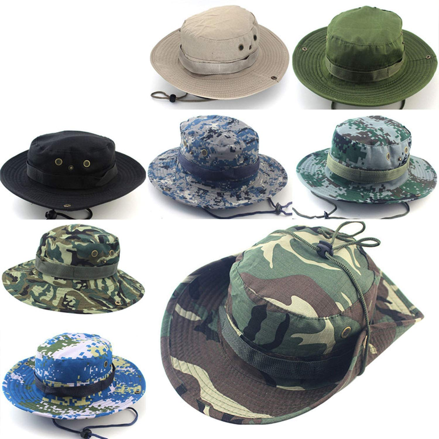 Men Women Camouflage Bucket Hat with String Fisherman Cap Military Sun Hats Cap