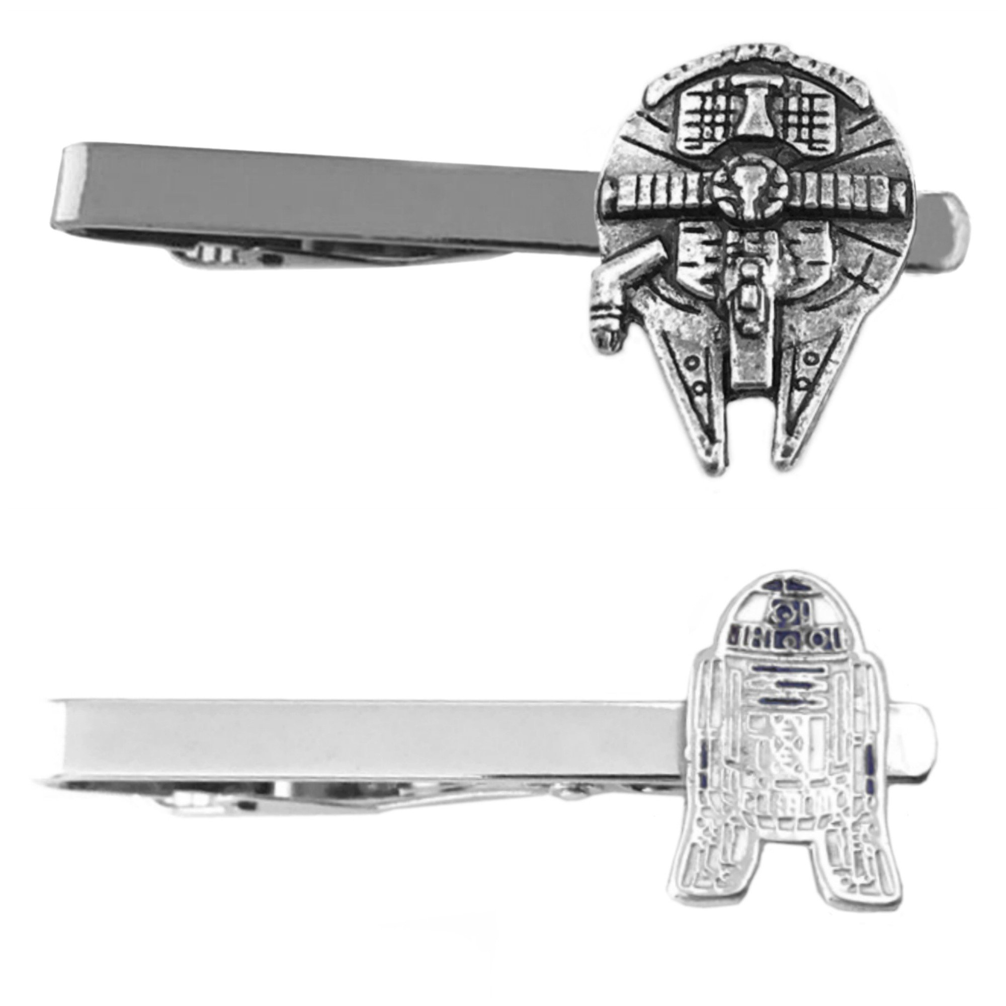 Outlander Star Wars - Millenium Falcon & R2-D2 Flat - Tiebar Tie Clasp Set of 2 Wedding Superhero Logo w/Gift Box