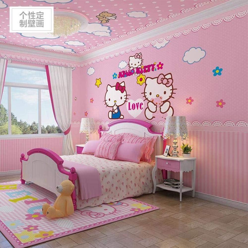 Children S Room Wallpaper Cartoon Kitty Cat Girl Warm Bedroom Background Wallpaper Pink Princess Room Mural Wall Covering 350cmx245cm Amazon Co Uk Diy Tools