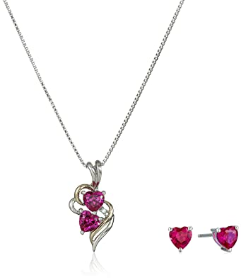 Amazon sterling silver and 14k yellow gold diamond accent and sterling silver and 14k yellow gold diamond accent and created ruby heart pendant jewelry set aloadofball Image collections