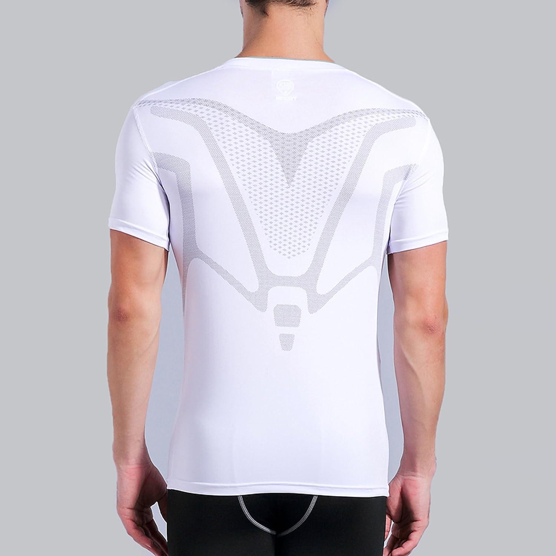 AMZSPORT Camiseta de compresi/ón de Mangas Corta para Hombre Deportes de Secado R/ápido Funcionamiento Baselayer