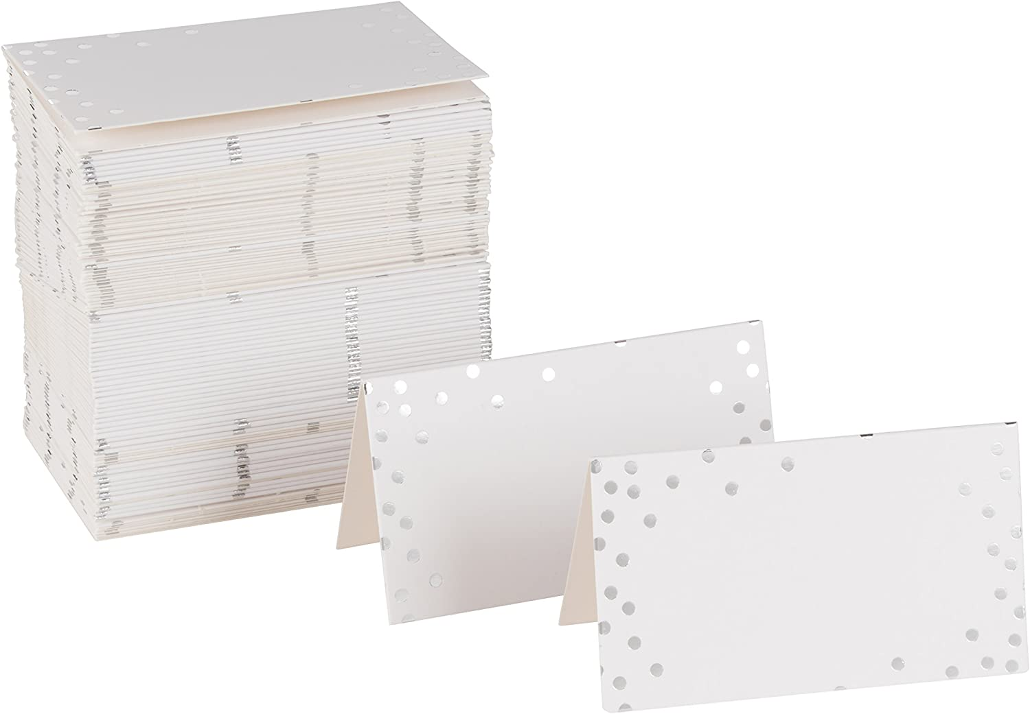 Place Cards - 100-Pack Small Tent Cards with Silver Foil Polka Dots, Foldover Table Placecards, Perfect for Weddings, Banquets, Events, Folded 2 x 3.5 Inches