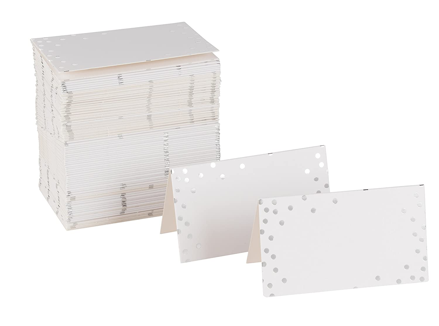 Best Paper Greetings Place Cards - 100-Pack Small Tent Cards with Silver Foil Polka Dots, Foldover Table Placecards, Perfect for Weddings, Banquets, Events, Folded 2 x 3.5 Inches Juvale