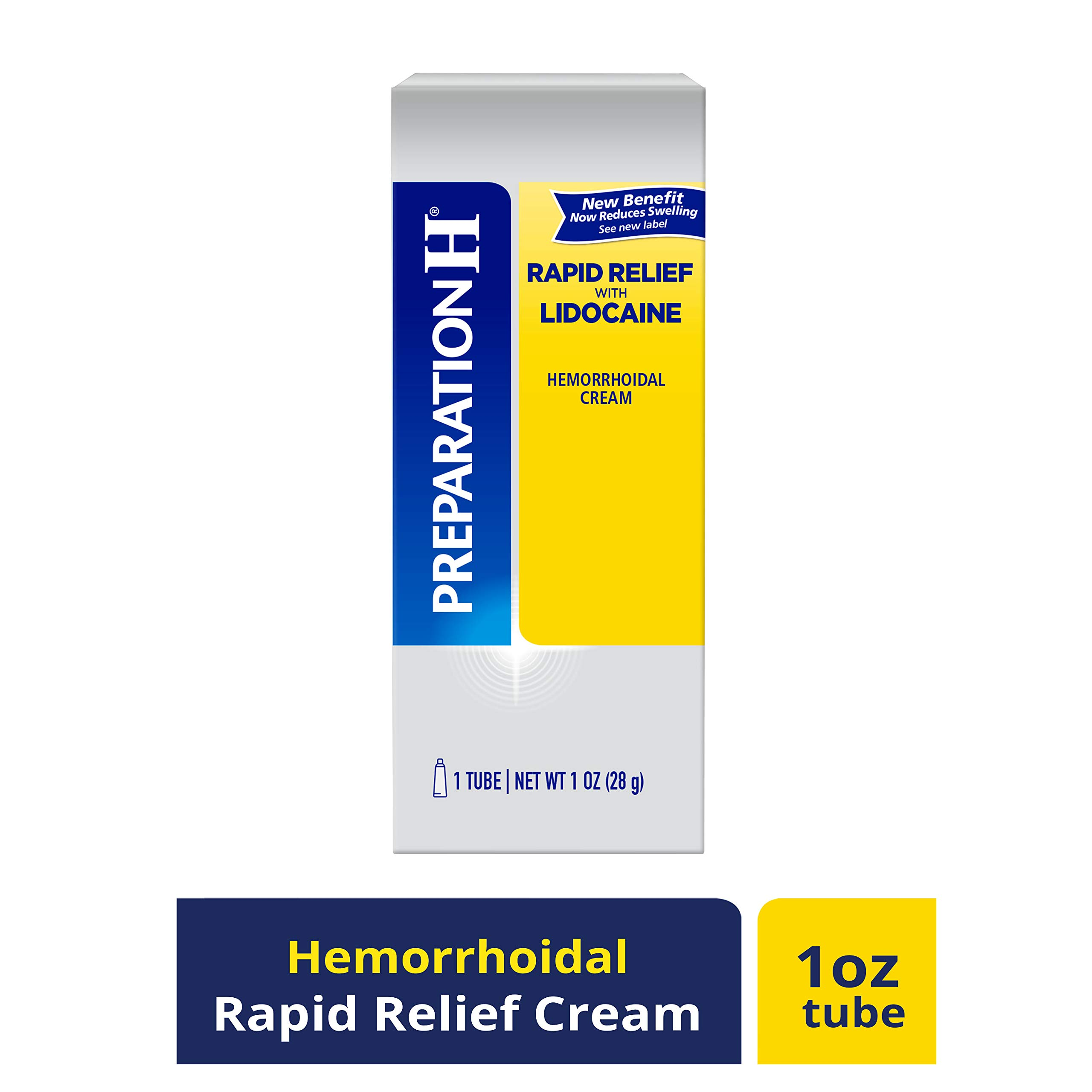 PREPARATION H Rapid Relief with Lidocaine Hemorrhoid Symptom Treatment Cream, Numbing Relief for Pain, Burning & Itching, Reduces Swelling, Tube (1.0 oz) by Preparation H
