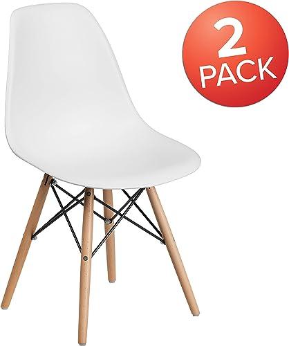 Flash Furniture 2 Pack Elon Series White Plastic Chair