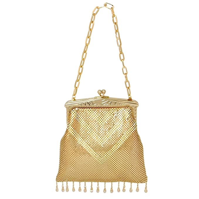 Vintage & Retro Handbags, Purses, Wallets, Bags Whiting & Davis Womens Limited Edition Deco Crystal & Mesh Fringe Clutch Gold OS $313.00 AT vintagedancer.com