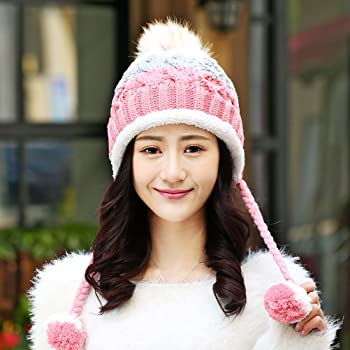 809a97d5b5c5b Women Winter Hats Warm Fashionable Knit Beanie Cap Hat Warm Christmas  Birthday Gift For Women Girls (Peach Red). TINKSKY Women Winter Hats Warm  Fashionable ...
