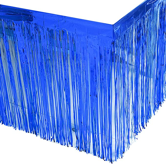 2 Packs Metallic Foil Fringe Table Skirt Green Tinsel Table Skirt Garland for Rectangle Tables Hotel Banquet Parade Floats Mardi Gras Holiday Birthday Wedding Party Decoration (L108 inH 29in)