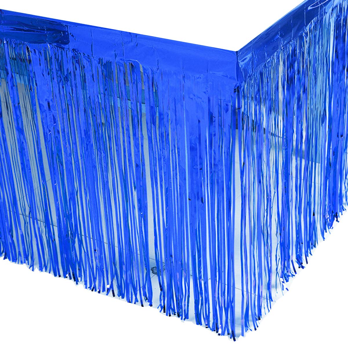 Leegleri 2 Pack Blue Metallic Foil Fringe Table Skirt Tinsel Party Plastic Table Skirt Banner for Parade Floats Mardi Gras Party Decoration(L108 inH 29in) by leegleri