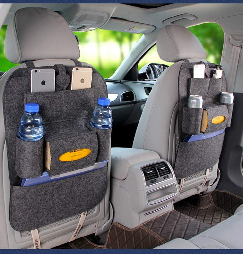 BININBOX Car Backseat Organizer Felt Pocket Protector Kick Mat Auto for Baby Kids Travel Accessories Toy Bottle Storage Red