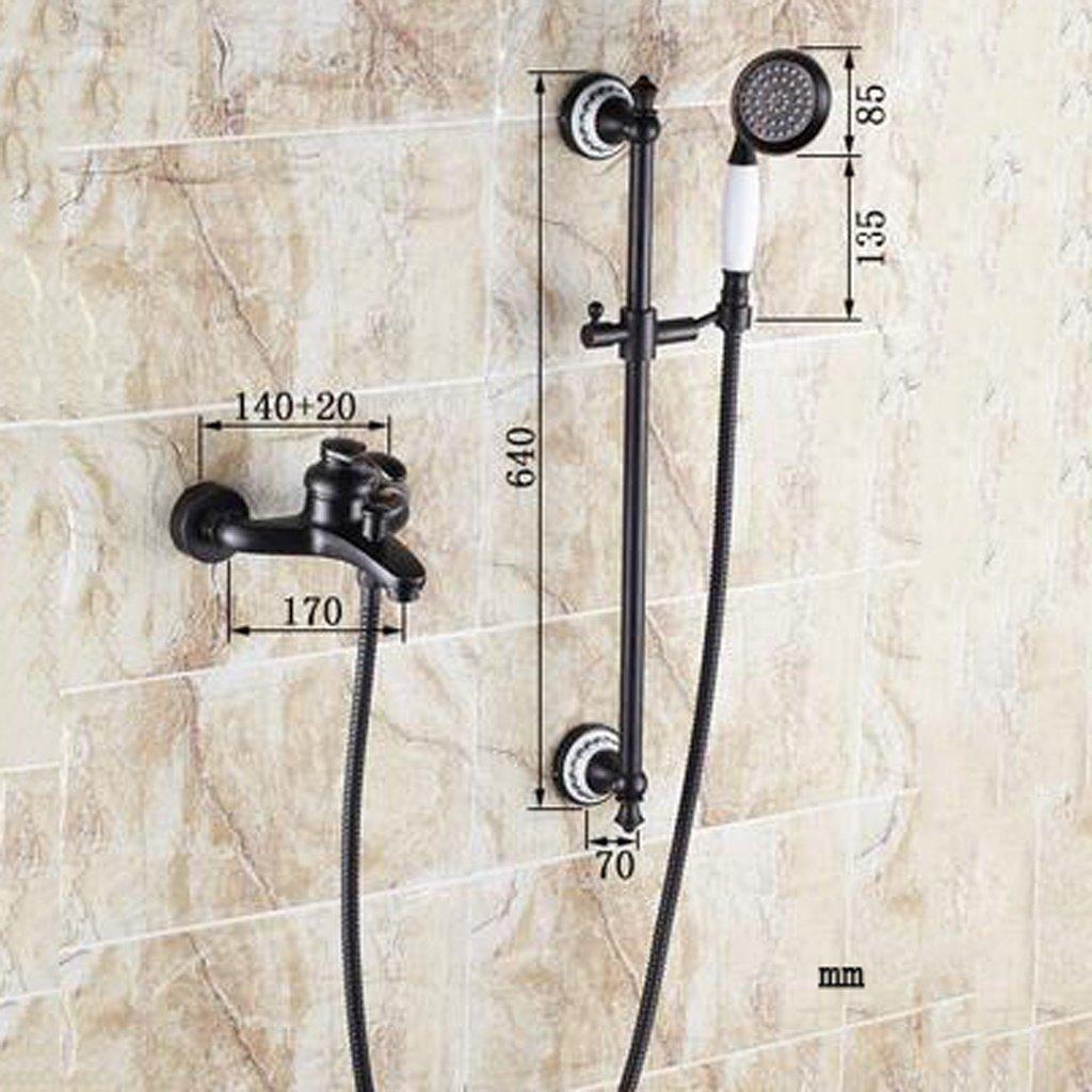 MOMO Dusche Set Schwarz Antiken Dusche Wasserhahn Kupfer Dusche Set Europäischen Bad Wasserhahn Mischventil by MOMO (Image #1)