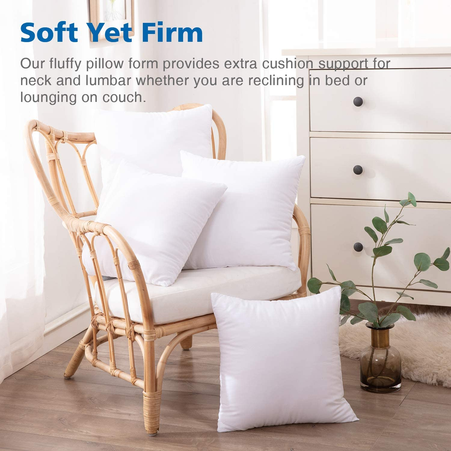 Eggishorn Throw Pillow Inserts (Pack of 2) 16x16 inch Decorative Pillow Stuffer Fully Filling with 450g Premium Resilient Microfiber Suitable for Soft Bed and Couch Cushion: Home & Kitchen