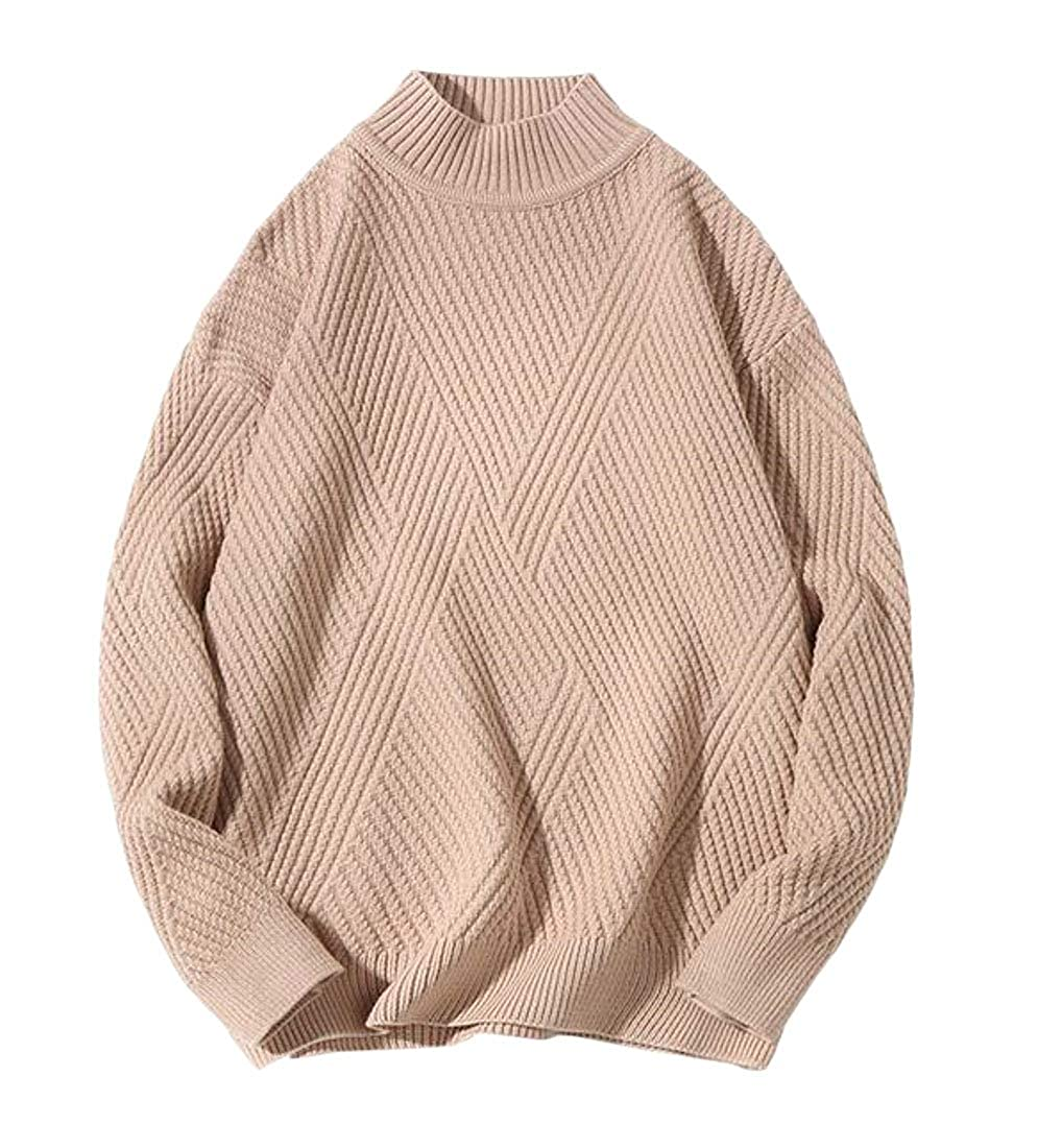 Etecredpow Mens Classic Fit Long Sleeve Knit Mock Turtle Neck Pullover Sweaters