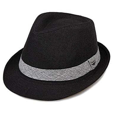 b7b50445 Erigaray Classic Fedora Straw Hat for Mens Summer Short Brim Beach Sun Hat  Jazz Cap Black