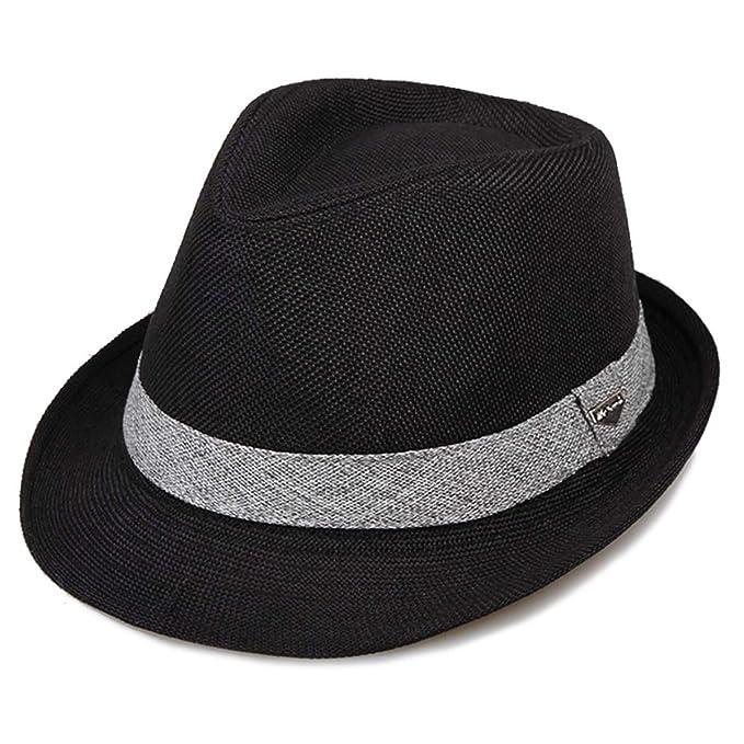 18fe9ff75ee Erigaray Classic Fedora Straw Hat for Mens Summer Short Brim Beach Sun Hat  Jazz Cap Black