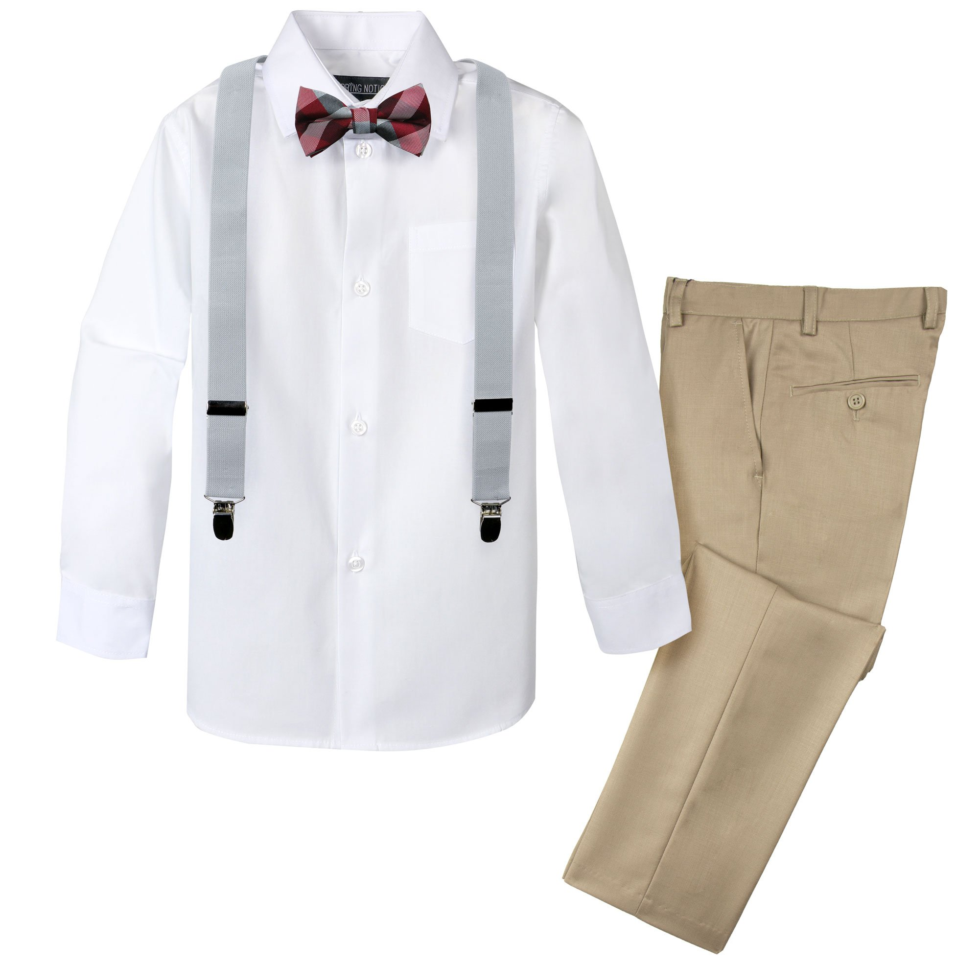 Spring Notion Boys' 4-Piece Patterned Dress up Pants Set 4T Tan/Silver-Red