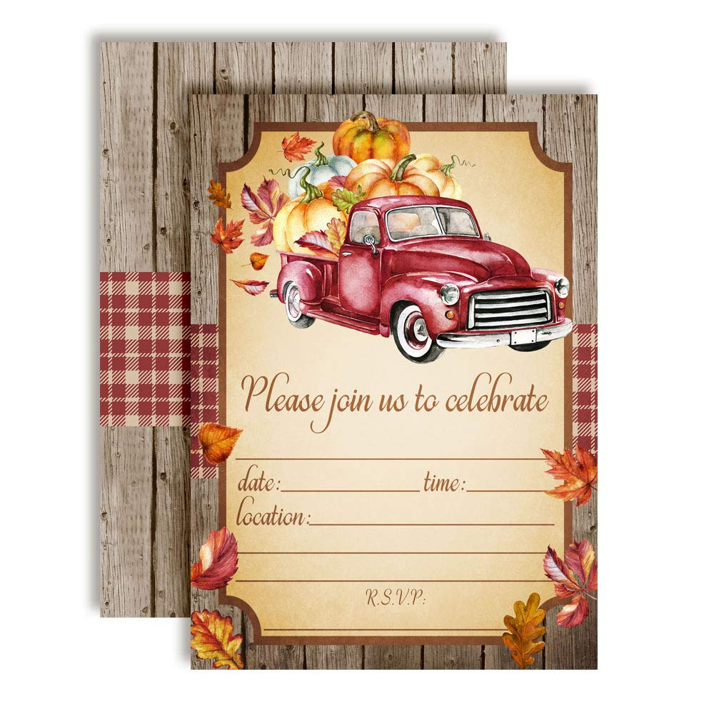 Red Watercolor Pickup Truck with Pumpkins Autumn Leaves Fall Party Invitations, 20 5''x7'' Fill in Cards with Twenty White Envelopes by AmandaCreation