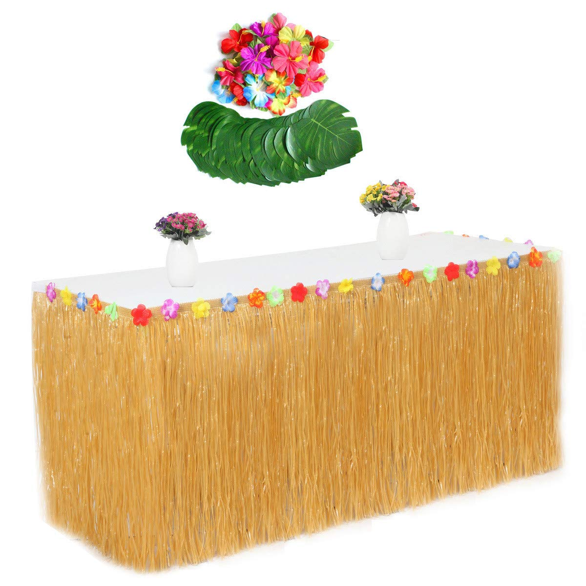 LKXHarleya Hawaiian Luau Grass Table Skirt Hula String, Faux 24pcs Hibiscus Flowers, 54pcs Artificial Turtle Leaf Tropical Leaves for Birthday Party Decoration,Khaki