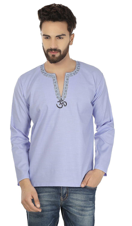 Maple Clothing Fashion Shirt Embroidered Mens Short Kurta Cotton India Clothing