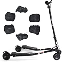 FoxHunter TRX Pro4 Tri Scooter   Black Mini Winged Push Scooter for kids   Trike Slider Drifter   3 Wheel Boys + Girls Scooter   *FREE SAFETY GEAR INCLUDED*