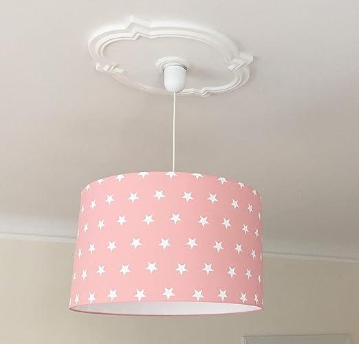Lampenschirm Kinderzimmer Sterne rosa, Kinderlampe Mädchen, Lampe ...
