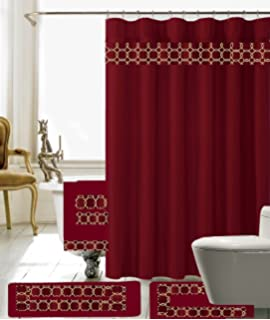 Captivating 18 Piece Embroidery Banded Shower Curtain Bath Set 1 Bath Mat 1 Contour 1  Shower Curtain
