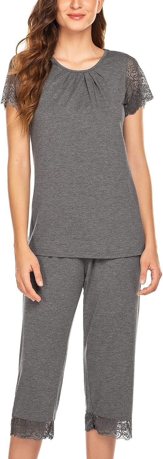 Ekouaer Womens Capri Pajama Set Lace Short Sleeve Sleepwear Pjs Sets with Pocket