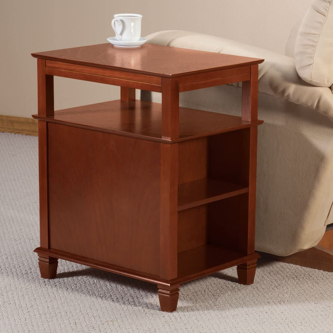 Miles Kimball Appleton Recliner Table by OakRidge with Slide-Out Shelf Mahogany