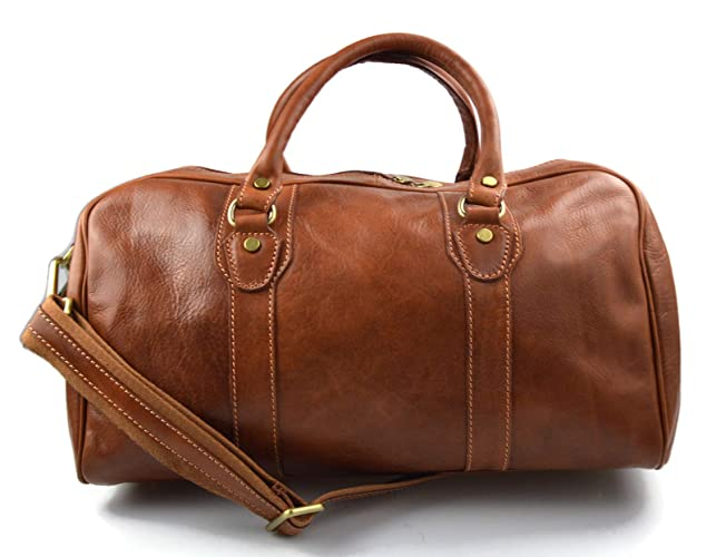 Amazon.com  Leather duffle bag genuine leather travel bag overnight bag for  men and women weekender leather bag cabin leather bag made in Italy brown   ... 1280aa15e3f72