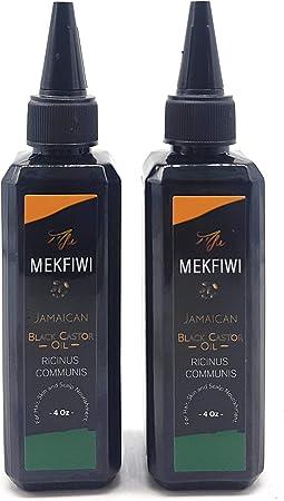 Mekfiwi - Aceite de ricino negro jamaicano. Para el pelo, la piel y la nutrición del cuero cabelludo. 118 ml, pack de 2 unidades (Ricinus communis): Amazon.es: Belleza