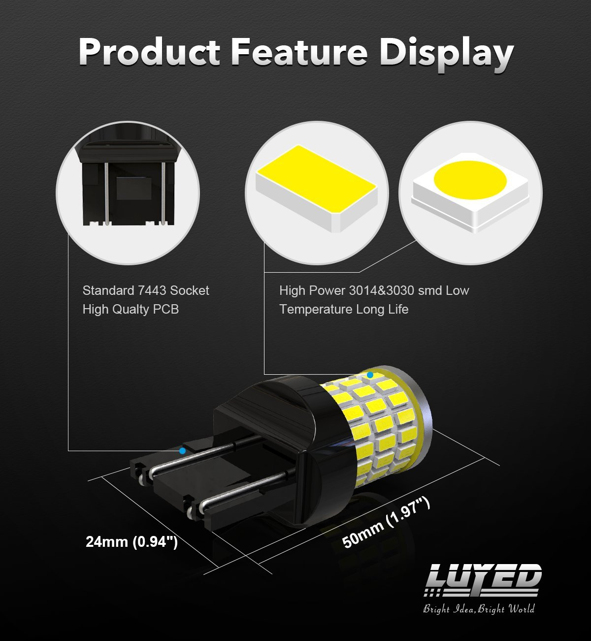 LUYED 2 x Super Bright 9-30v 7440 7443 T20 LED Bulbs Used For Back Up Reverse Lights,Turn Signal Lights,Brake Lights,Tail lights,Xenon White 4333015472