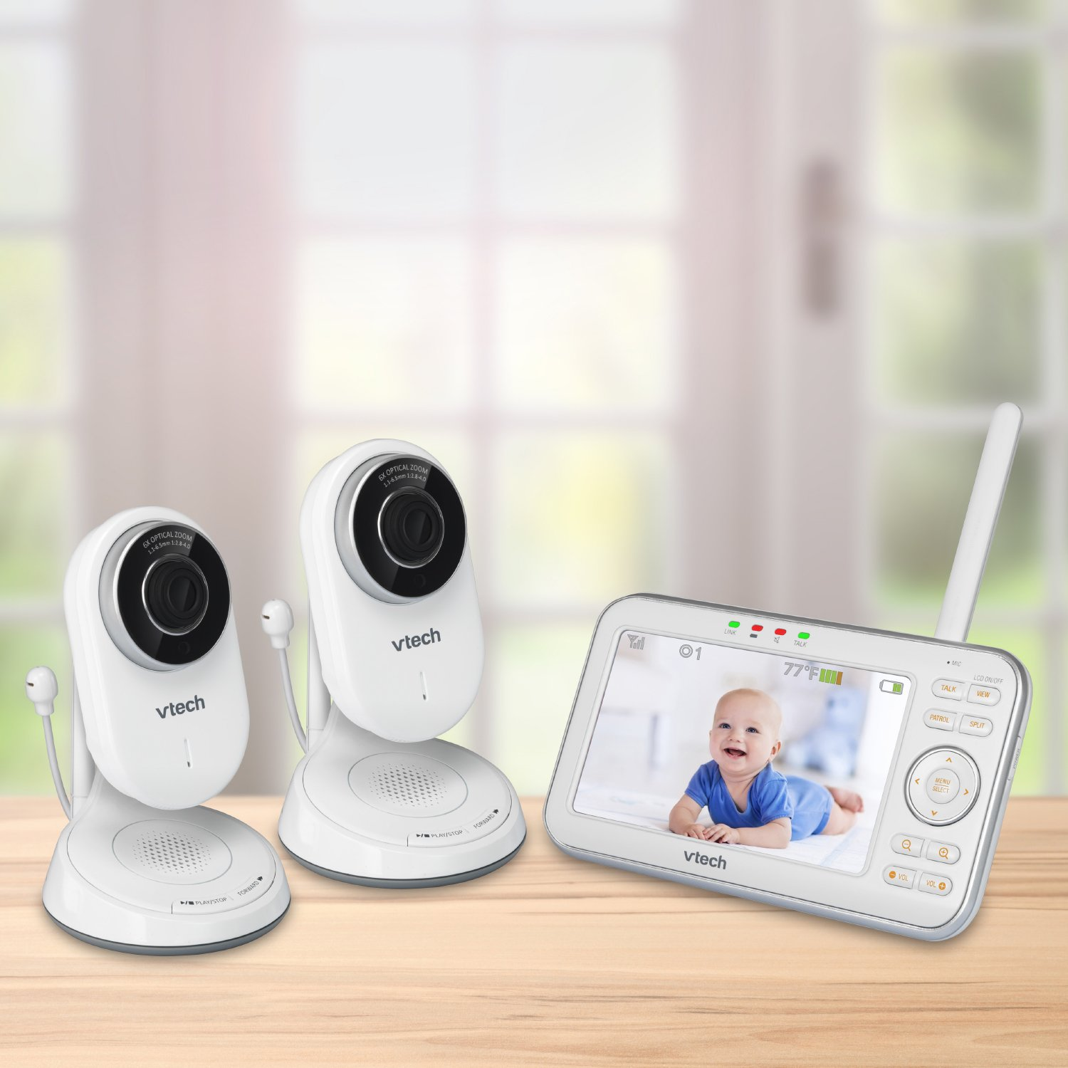 VTech VM5271-2 Video Baby Monitor with 5-inch Screen, Motorized Lens with 6x Optical Zoom, Soothing Sounds & Lullabies, Temperature Sensor & 1,000 feet of Range with 2 Cameras by VTech (Image #2)