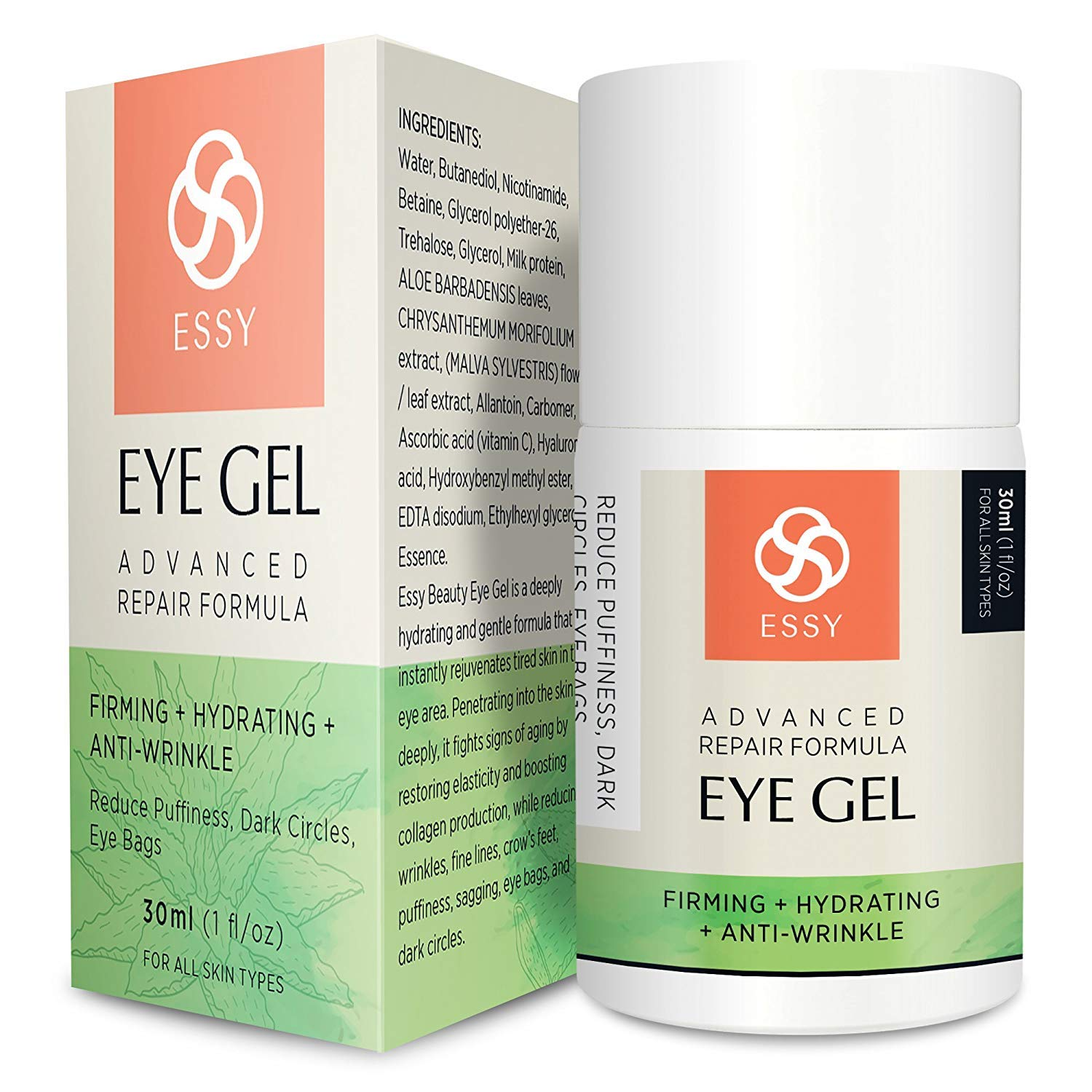 Eye Gel for Dark Circles, Puffiness, Wrinkles and Bags,Fine Lines. - The Most Effective Anti-Aging Eye Gel Under and around Eyes- 1 fl OZ by Essy naturals