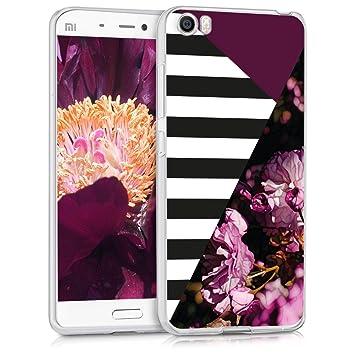kwmobile Funda para Xiaomi MI5 - Carcasa de {TPU} para móvil con diseño de flores y rayas en rosa fucsia / negro / blanco