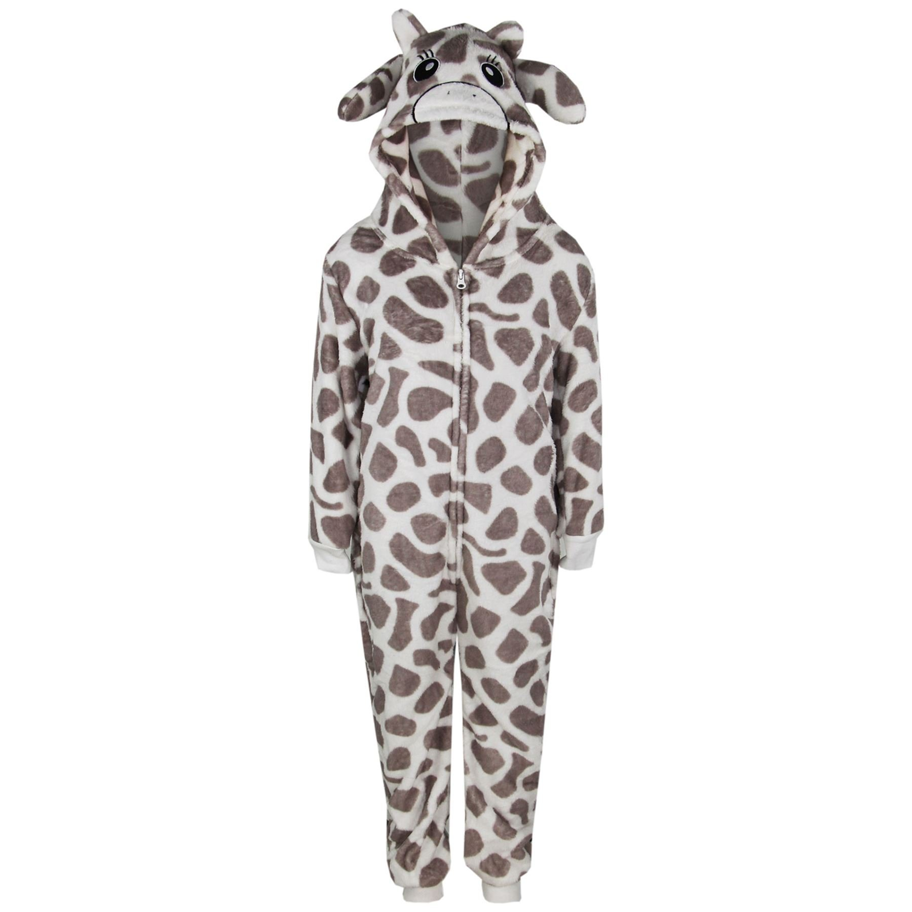 Girls//Boys Childrens Fleece All In One Hood//Kids Pyjamas Costume Age 2-13 Years