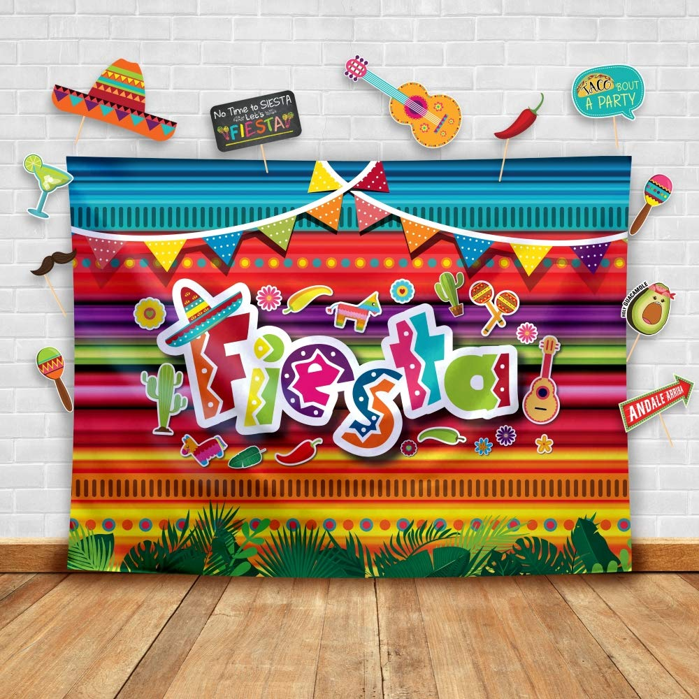 Summer Fiesta Theme Photography Backdrop and Studio Props DIY Kit. Great as Mexican Dress-up Photo Booth Background, Pool Birthday Party Supplies and Luau Event Decorations by Glittery Garden