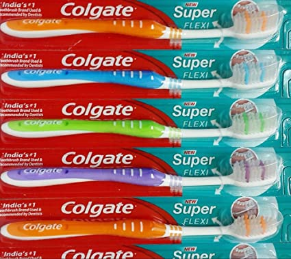 Colgate cepillo de dientes super Flexi negro colorido mango (paquete de 12 + 1)