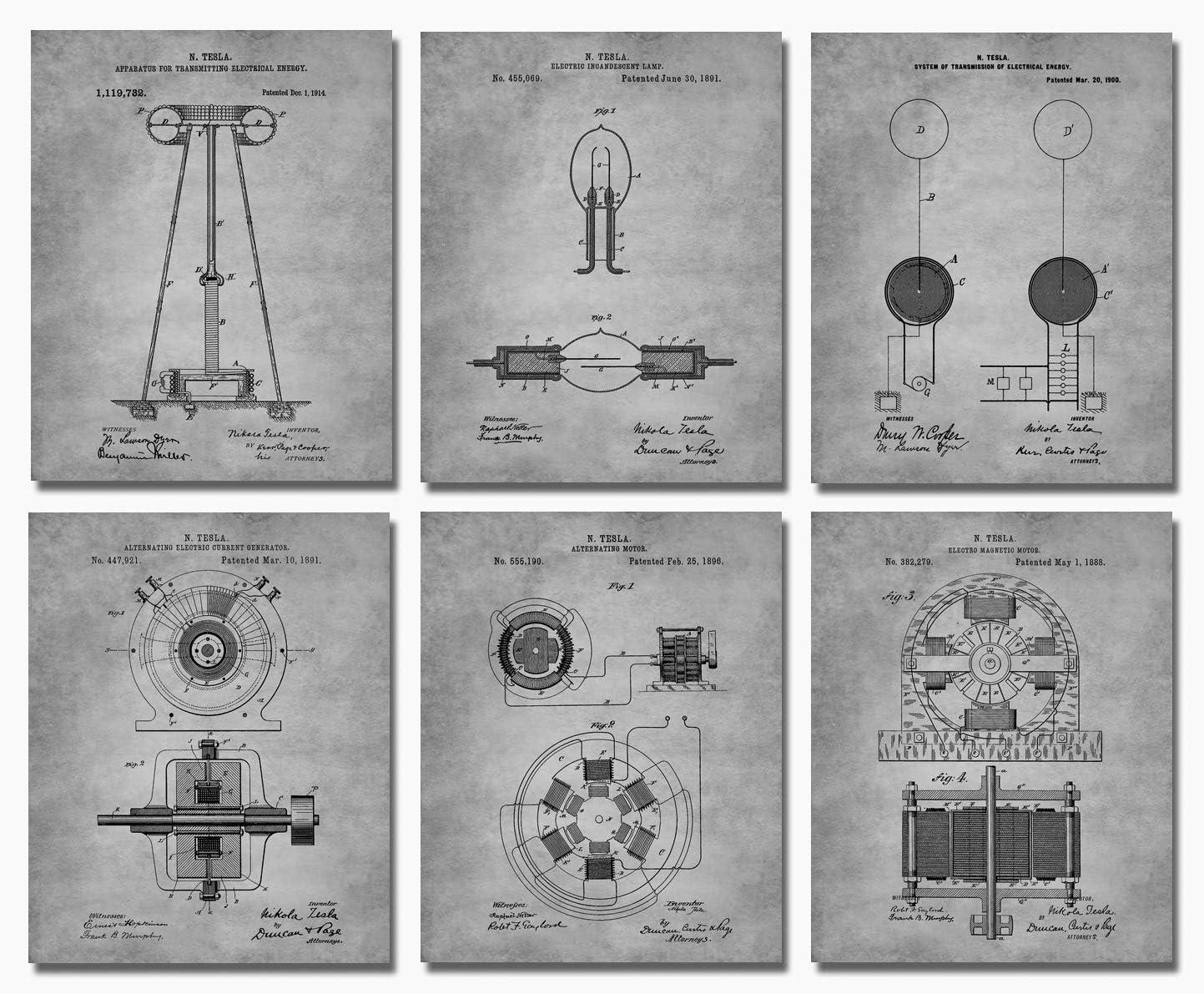 "Nikola Tesla Wall Art - Set of Six 8""x10"" Patent Prints - Engineer Gifts - Geek Home Decor - Grey"