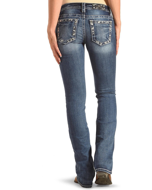 Miss Me Women's Blue Floral Border Pocket Jeans Boot Cut Blue 29W x 34L