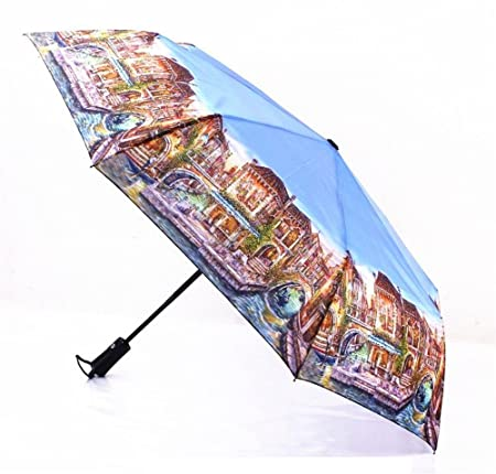 Amazon.com : Katoot@ Oil Painting Umbrella 3 Folding Automatic Umbrella Rain Women And Men Plegable Paraguas De Mujer Parapluie Femme High Quality ...
