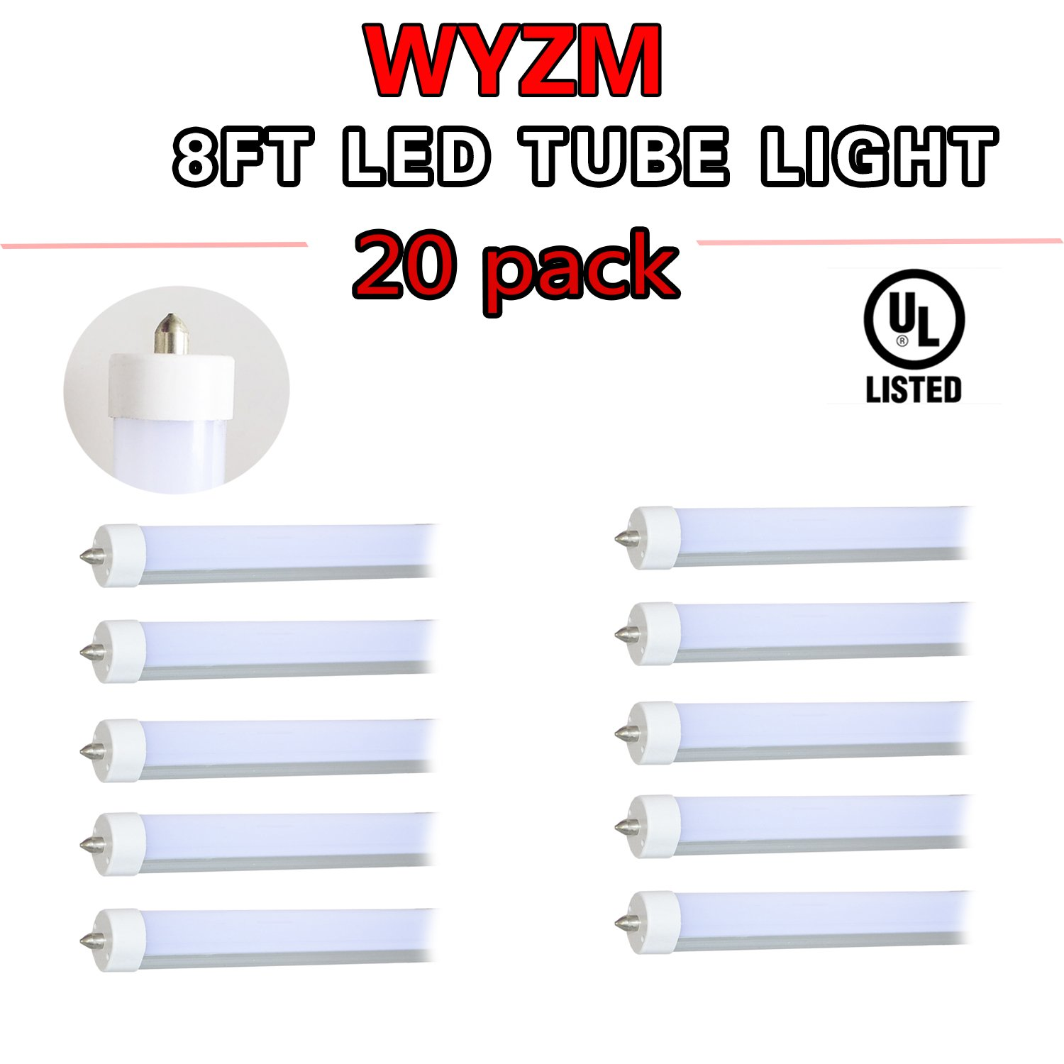 WYZM 20-Pack 96'' 8ft 40w T12 LED Tube Double-end Power 110V 277V AC F96T12 / DX / ALTO 75 Watt T12 Linear Fluorescent Tube Replacement (20)